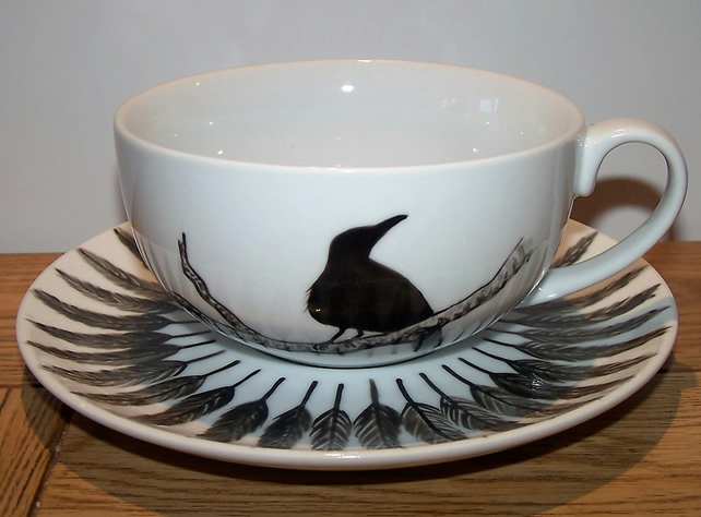 THE RAVEN.....HAND PAINTED LARGE 12oz CAPPUCCINO CUP & SAUCER GOTHIC