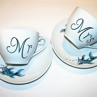 Wedding Mr & Mrs hand painted matching cups and saucers, Koi Carp Tattoo