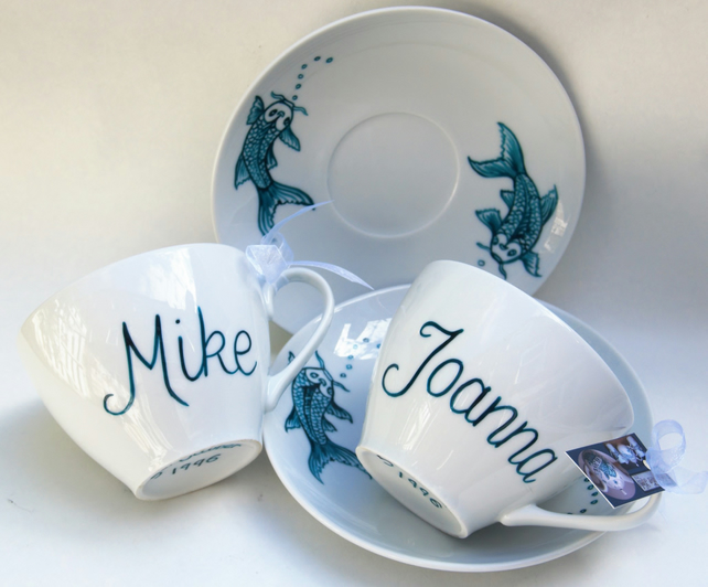 Wedding His & Hers hand painted matching cups and saucers Koi Carp Tattoo