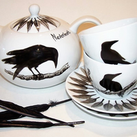Raven teapot plus 2 cups and saucers feather detail Edgar Allan Poe inspired