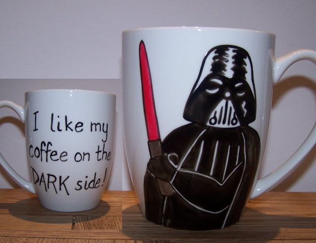 Darth Vader hand painted mug Father's Day I like my coffee on the dark side