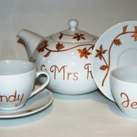 Wedding china teaset gold hand painted personalised teapot and 2 cups'n saucers