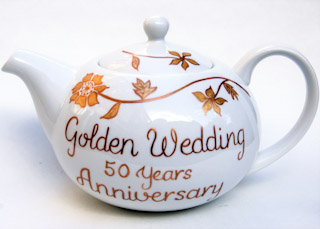 50th Wedding anniversary china teaset gold hand painted personalised to order