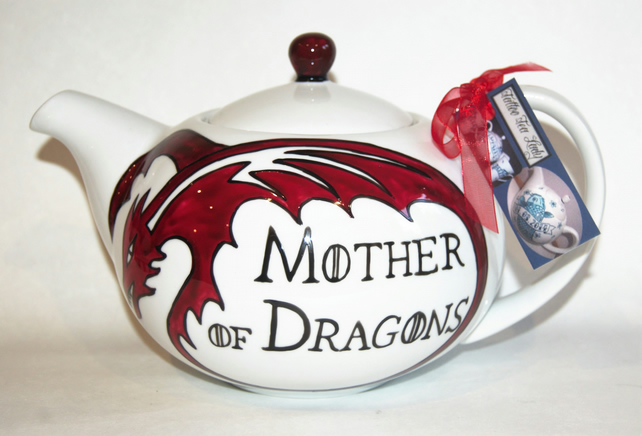 Game of Thrones inspired 6 cup Hand Painted Teapot Mother's Day Anniveraries