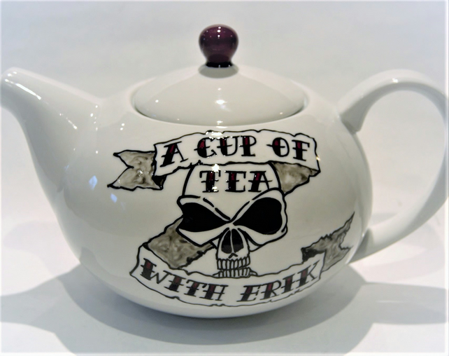 Hand painted Tattoo Skull teapot 6 cup personalised with banner