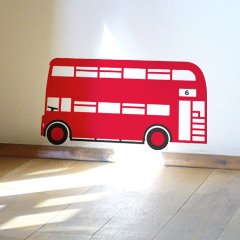 Red London Bus Childrens Wall Decal Sticker