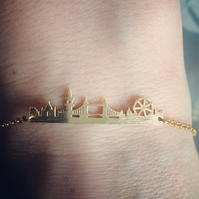 Gold plated london cityview silhouette bracelet