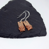 Rose Copper Bar Earrings