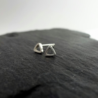 Tiny Triangle Stud Earrings in Sterling Silver