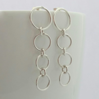 Silver Stud Dangle Earrings