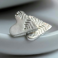 Silver Heart Earrings with Leaf Print Detail