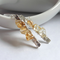 Drop Earrings in Silver and Citrine