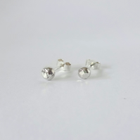 Sterling Silver Hammered Pebble Mini Earrings