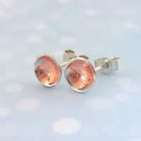 Sterling Silver Studs with Copper Leaf