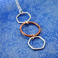 Mixed Metal Geometric Necklace in Silver and Copper