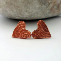 Swirly Copper Heart Studs