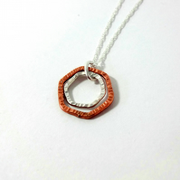 Modern Dainty Mixed Metal Hexagon Necklace In Sterling Silver and Copper