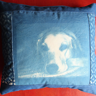 "Patchwork Cushion Cyanotype of a Labrador Dog. 17.5""x 16"""