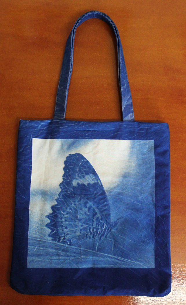 2 Sided Cyanotype Butterfly Tote Bag.