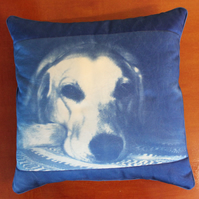 "Cushion Cyanotype of a Labrador Dog 17""x 17"" Cotton"