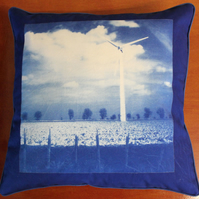"Blood Hill Wind Farm, Single Turbine. Cyanotype Cushion 16""x16""."