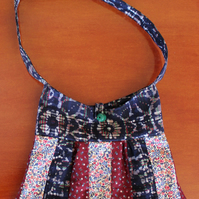 Patchwork Shoulder Bag. Trapezium type shape, 3 fabrics.