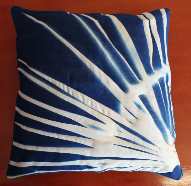 "Fan of Palm leaves. Contact print Cyanotype, Cushion 18""x18""."