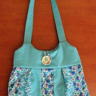 Turquoise Patchwork Shoulder Bag. 3 fabrics.