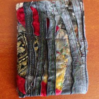 Machine Embroidered Mixed Media Needle Case with Maroon Felt