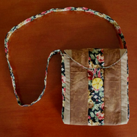 3 Fabric Patchwork Brown Bag
