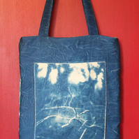 "Tote bag with Cyanotype image of ""Grandads Garden"" on front."