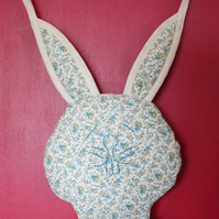 Rabbit, Shoe and Accessory Hanging. Turquoise & Cream.