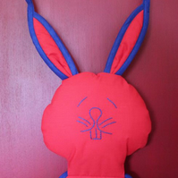 Bunny Rabbit, Shoe and Accessory Hanging. Red and Blue.