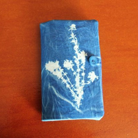 Needle Book with Thyme Cyanotype on Front.