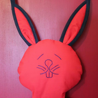 Rabbit Shoe and Accessory Hanging. Red with Navy Bias Binding.