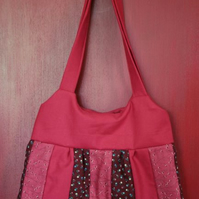 Red & Maroon Shoulder Bag. Trapezium Shape.