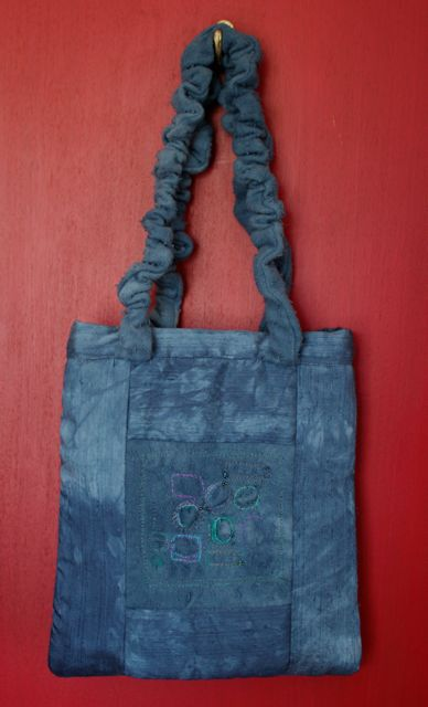 Blue Embroidered Evening Bag