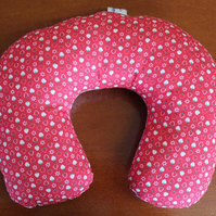 Red & White 2 sided Travel Pillow with Strawberries.