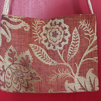 Rust Red & Buff 2 Sided Small Shoulder Bag
