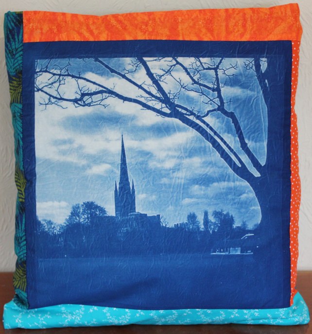 Quishion. Patchwork Quilt in a Cushion, Cyanotype's of Norwich.