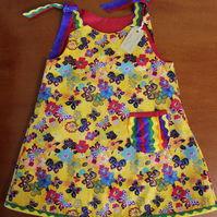 Yellow Butterfly Reversible Sun Dress, Size 5 Years