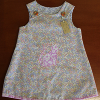 Poly Cotton Sun Dress with Pussy Cat Motif, 5 Years.