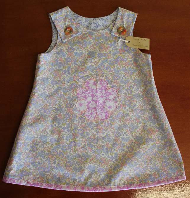 Poly Cotton Sun Dress with Flower Motif, 4 Years.