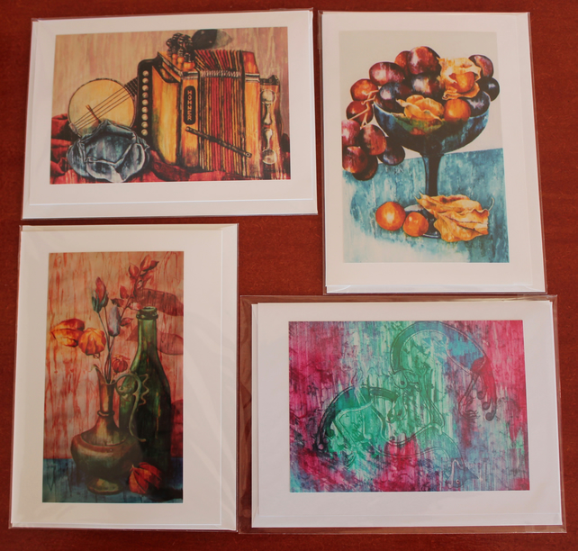 4 x Cards from Original Paintings by Rebecca Spragge