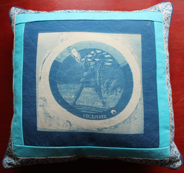 "16"" Cyanotype Cushion with December Roundel and Patchwork."