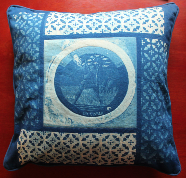 "18"" Cyanotype Cushion with December Roundel and Iron work Pattern."