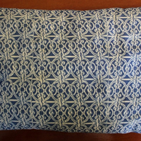 "Handmade Stuffed Cushion, Cyanotype of Ironworks. 12""x7.5"""