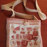 Embroidered & Painted Shoulder Bag, Cream Pink and Brown, 18cm x 19cm
