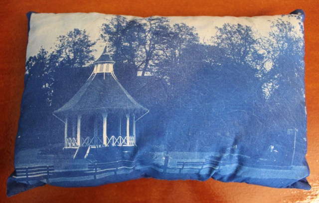 Handmade Stuffed Cushion, Cyanotype of Chaplefield Park Norwich