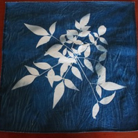 Cyanotype panel, Heavenly Bamboo contact print